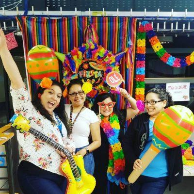 Employees decorating for Fiesta San Antonio